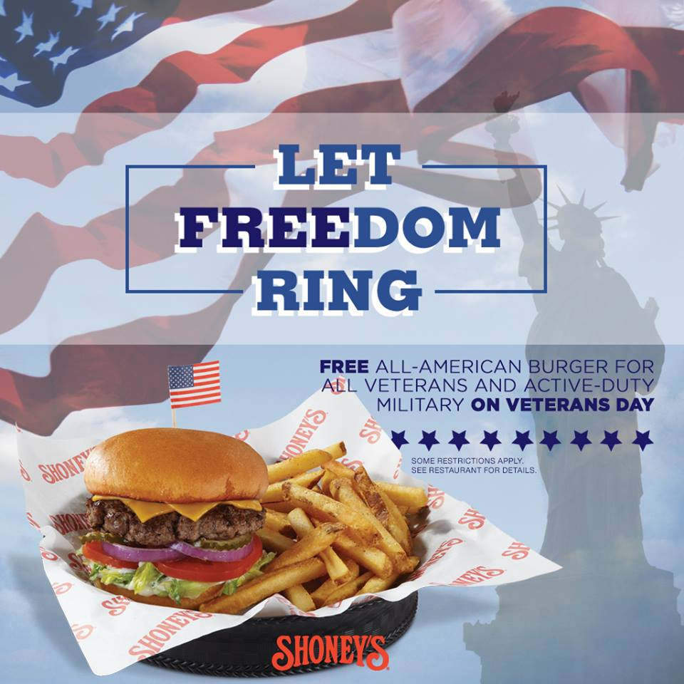 """Let Freedom Ring"": Free All-American Burger for All Veterans and Active-Duty Military on Veterans Day."