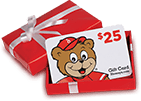 Shoney's gift cards in a red box with white ribbon.